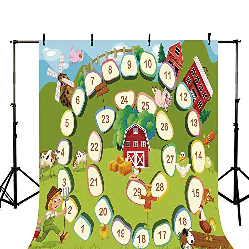 Board Game Stylish Backdrop,Barn Rustic Farm Landscape Vegetables Nature Cow Pig Duck Farmer Boy Cartoon Decorative for Photography,118
