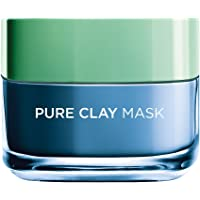 L'Oreal Paris Pure Clay Blue Face Mask with Marine Algae Clears Blackheads and Shrink Pores, 50ml