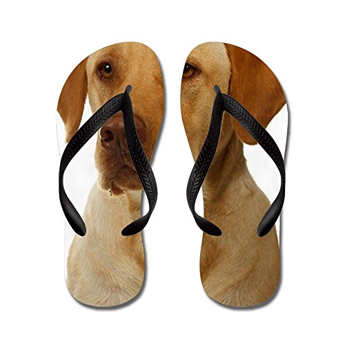 CafePress Yellow Lab focuses On Dinner - Flip Flops, Funny Thong Sandals, Beach Sandals Black
