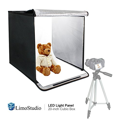 LimoStudio 20 Inch Cube Box Black LED Lighting Table Photo Shooting Tent for Commercial Product Photo Shoot, LED Panel, Color Background, Easy Install with Velcro, Photography Studio, AGG2489