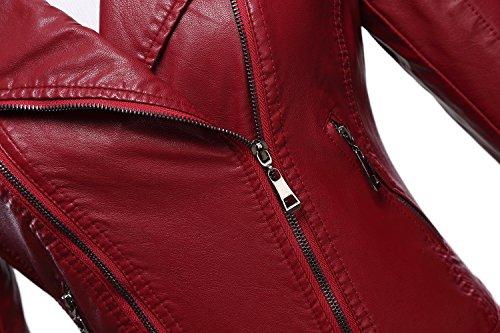 Tanming Women's Faux Leather Collar Moto Biker Short Coat Jacket (Medium, W-Red6) by Tanming (Image #3)