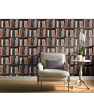 Papel pintado Biblioteca//Vinilo de calidad finission liso con pegamento Offerte