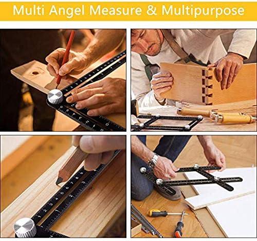 Universal Winkeleinstellung Lineal Multi-Winkel-Metall-Messwerkzeug Aluminiumlegierung Multifunktionslineal Ultimate Angle Tool 4 Seiten schwarz