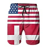 confirm vt USA Denmark Flag Men's Printing Beach Shorts Swim Trunks