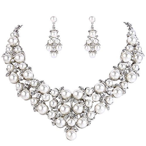 Costume Pearl Bridal Jewelry (BriLove Women's Wedding Bridal Crystal Cream Simulated Pearl Cluster Statement Necklace Dangle Earrings Set Clear Silver-Tone)
