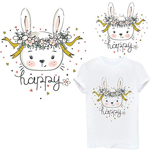 Transfer Rabbit Iron On Patches Animal Stickers Bunny Pathes for Jeans Jackets Hats Backpacks All People Favor Waterproof Washable Embroidered Appliques DIY Accessory 2 Pieces - Rabbit Stickers Bunny
