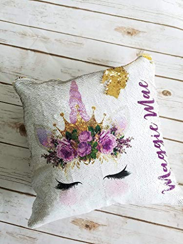 Personalized Unicorn Face Sequin Pillow Case Throw Cushion Cover Gift for ()