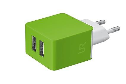 Trust Urban - Cargador de pared doble USB universal de 10W para smartphones, verde