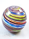 M Design Art Handcraft Rainbow Swirls Line Ranibow Surface Glass Paperweight