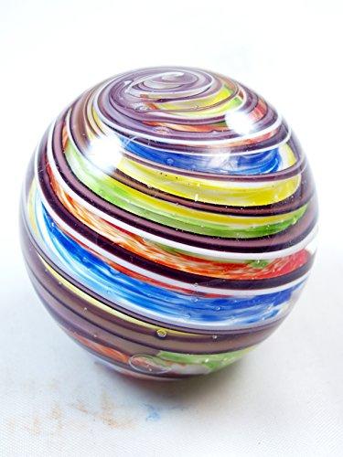 M Design Art Handcraft Rainbow Swirls Line Ranibow Surface Glass Paperweight