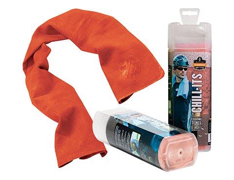 Ergodyne Chill-Its 6602 Evaporative Cooling Towel - Orange- Pack 12 by Ergodyne