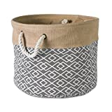 DII Collapsible Burlap Storage Basket or Bin with Durable Cotton Handles, Home Organizational Solution for Office, Bedroom, Closet, Toys, & Laundry (Small Round - 12x9'), Diamond Gray