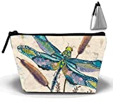Watercolor Dragonfly Cosmetic Bags Travel Toiletry Pouch Portable Trapezoidal Storage Pencil Holders
