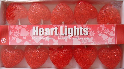 [Valentine Sparkle Red Jell Heart String Lights Set of 10 - Indoor & Outdoor] (Valentine Sparkle)