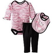 Bon Bebe Baby-girls Newborn Zebra Stripes 3 Piece Pant Set, Multi, 0-3 Months