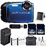 Fujifilm FinePix XP80 16.4 MP CMOS WiFi WaterProof Digital Camera (Blue) + Battery + Charger + 32GB SDHC Memory Card + 64GB SDXC Memory Card + Carrying Case + Deluxe Starter Kit 6AVE Bundle