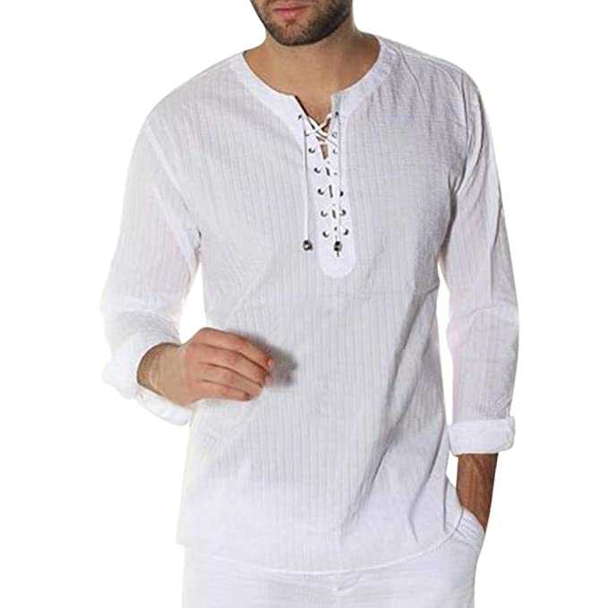 Mens Long Sleeve Henley Shirt Needle Show Drawstring Beach ...