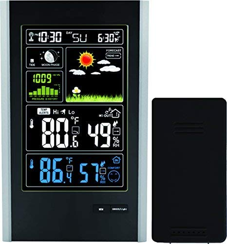 (Wireless Weather Station with Indoor/Outdoor Wireless Sensor and USB Charge Port – TG646 Weather Station Clock with Color Icons for Forecasting/Temperature with Alerts/Humidity by Think)