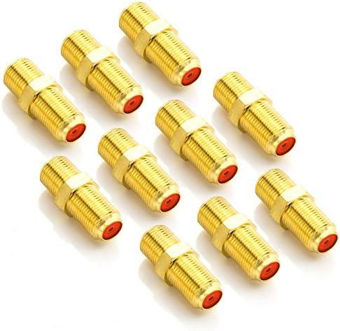 deleyCON 10x Adaptador Conector de Satélite - Extender Cable Coaxial 2X Conectores Tipo F - Cable para Instalaciones de Satélite