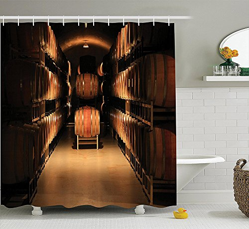 Winery Decor Collection Wine Barrel Stacked in Cellar Aged Old Fermenting Quality Container Storage Basement Image Polyester Fabric Bathroom Shower Curtain Set Brown (Snap Dragon Wine compare prices)
