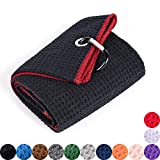 Mile High Life Tri-fold Golf Towel | Premium Microfiber Fabric | Waffle Pattern | Heavy Duty Carabiner Clip (Black/Red)