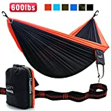 SEGMART Hammock- Portable Double Ultralight Camping, Hiking and Backpacking Parachute Hammocks with Tree Straps and Carabiners Top-Grade Quality, 600lbs(Black/Orange)