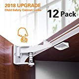 Cabinet Locks Child Safety,Baby and Child Proof Safety Cabinet Drawer Latches Locks,Invisible Design,3M Adhesive Easy Installation,12Packs - White(Yacolife)