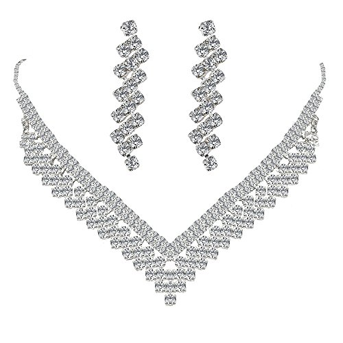 Wiwiw Elegant Austrian Crystal V-shaped Necklace Earrings Set Silver Fashion Jewelry Set for Bridal Wedding Party Accessories(Style02) -
