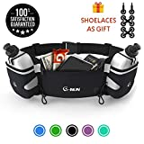 G-RUN Hydration Running Belt with Bottles - Water Belts for Woman and Men - iPhone Belt for Any Phone Size - Fuel Marathon Race Pack for Runners - Jogging Waist Pouch...