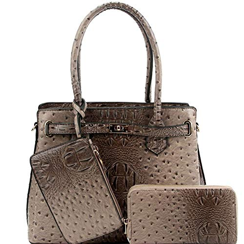 Ostrich Print Multi-Compartment 3 in 1 Satchel Purse and Wallet SET with Wristlet