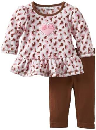Babyworks Baby-Girls Newborn Micro Fleece Cheetah Clothing Set, Brown, 0-3 Months