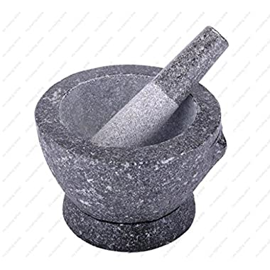 Stone (Granite) Mortar and Pestle, 8 In, 3+ Cup Capacity…