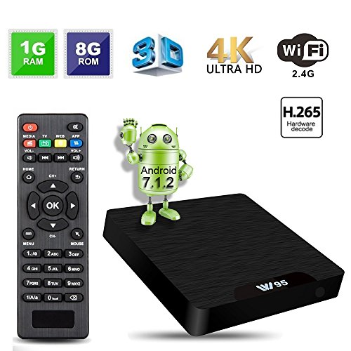 [Super Android TV Box] GroGou VV95 7.1.2 Android TV Box with 1GB RAM+8GB ROM, 64bit Quad-Core CPU, Amlogic S905W Chipset, 2.4GHz Wi-Fi, 4K Ultra HD and support H.265 Video Decoder