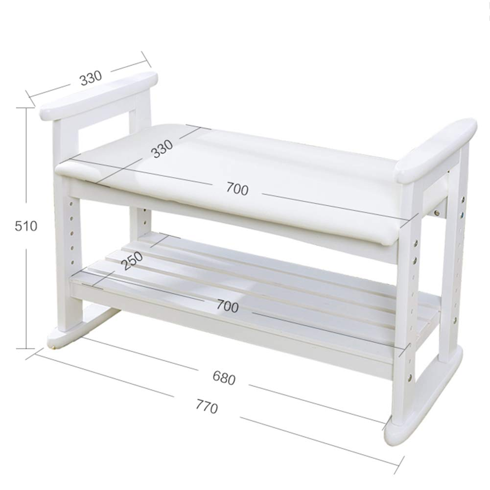 White 770x330x510mm JIANFEI Footstool shoes Shelf Rack Height Adjustable PU Cushion Armrest Multi-Layer,2 Colours 2 Size (color   White, Size   530x330x510mm)