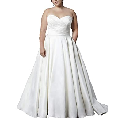Fashionbride Women\'s Satin with Pocket Vintage Plus Size Wedding ...