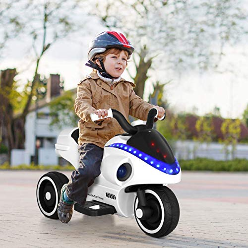 Costzon Electric Kids Ride on Motorcycle, 3 Wheels Motorcycle Toy for Children, Ride On Toy for Boys and Girl Shark-Like Shape with Light &Music Horn, Pedal, Battery Powered 6V ()