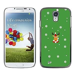 Caucho caso de Shell duro de la cubierta de accesorios de protección BY RAYDREAMMM - Samsung Galaxy S4 I9500 - Rein Deer Winter Horns Christmas Snow Flakes