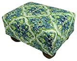 Sea Tiles Upholstered Fabric Footstool Ottoman