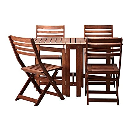 Admirable Ikea Applaro Table And 4 Folding Chairs Outdoor Brown Bralicious Painted Fabric Chair Ideas Braliciousco
