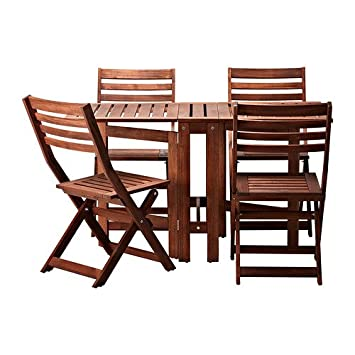 the best attitude df1a5 e15f0 IKEA Applaro Table and 4 Folding Chairs, Outdoor, Brown