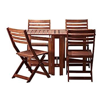 Fine Ikea Applaro Table And 4 Folding Chairs Outdoor Brown Creativecarmelina Interior Chair Design Creativecarmelinacom