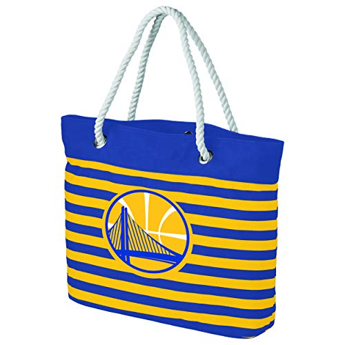 FOCO NBA Golden State Warriors Womens Nautical Stripe Tote Beach Bagnautical Stripe Tote Beach Bag, Team Color, One Size (Warriors Golden Pool State)