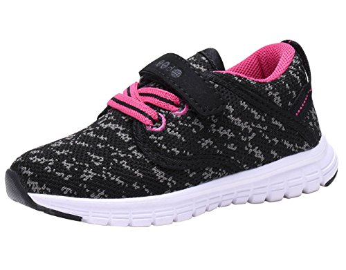 COODO CD3001 Toddler's Lightweight Sneakers Girls Casual Running Shoes New Black/Fuchsia-6