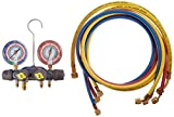 Yellow Jacket 49911 Manifold with 3/8'' Vacuum Port degrees C, kPa/psi Scale, R-22/134A/404A Refrigerant, Red/Blue Gauges