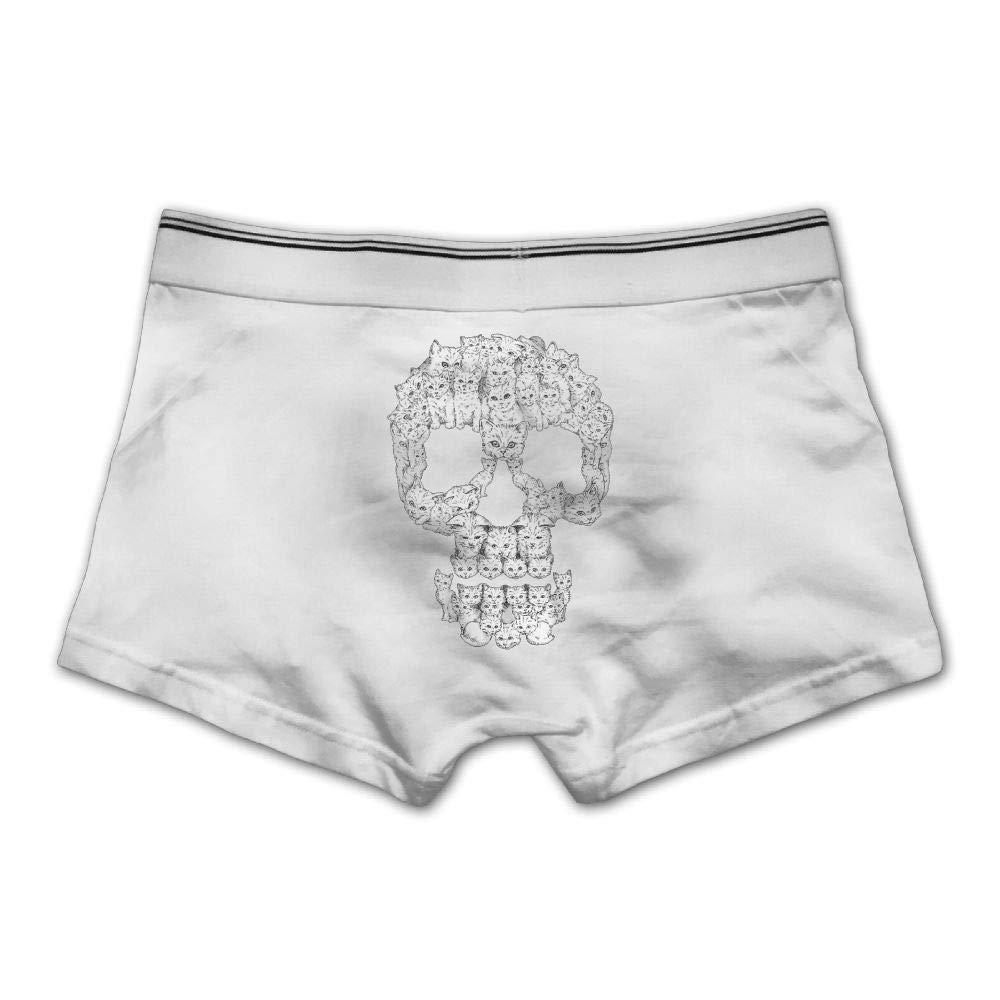 Mens Cat Skulls Underwear Cotton Boxer Briefs Stretch Low Rise Trunks White