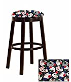 New! 1 - 24'' Tall Espresso Wood and Metal Bar/Game Room/Kitchen Swivel Bar Stool with Your Choice of a Themed Fabric Covered Cushion (Poker)