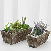 MyGift Reclaimed Solid Wood Style Rustic Brown Rectangular Planter Boxes, Set of 2