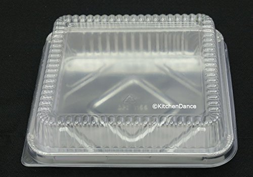 Disposable Aluminum 7-7/8 inch x 7-7/8 inch Square Cake Pan with Clear Plastic Lid #1155P (500)
