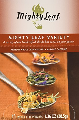[Mighty Leaf Tea Mighty Leaf Variety, Whole Leaf Pouches, 1.36-Ounces, 15-Count (Pack of 3)  Package contains 15 green tea tropical - 15 organic breakfast - 15 chamomile citrus] (Tropical Citrus Green Tea)