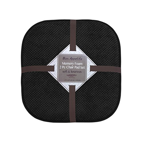 Anywhere Comfort Memory Foam (Bounce Comfort Bon Appetite Memory Foam 17 x 16 in. Cushioned Chair Pad, Set of 2 Black)